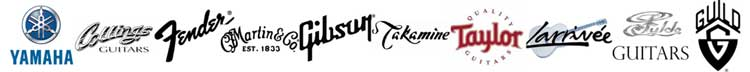 guitar logos yamaha collings gibson guild fender takamine martin guitars